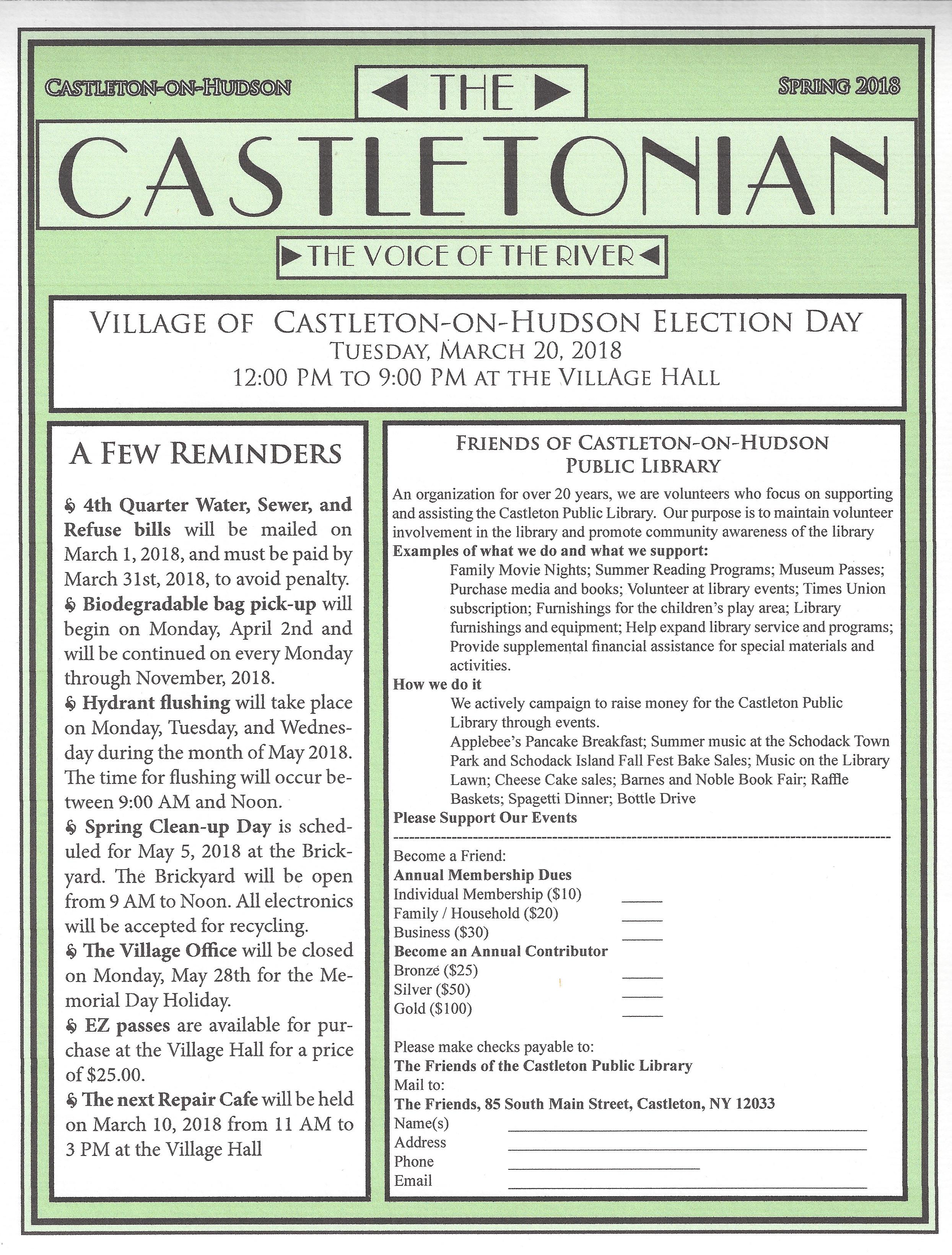 Castletonian Spring 2018